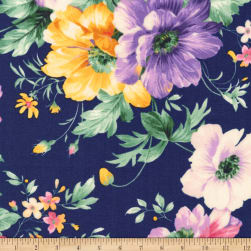 Kaufman Woodside Blossom Flowers Navy Fabric