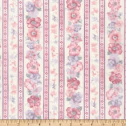 Kaufman Woodside Blossom Flowers Stripes Vintage Fabric