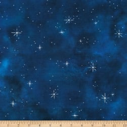 Kaufman Morningmoon Fairies Midnight Blender Blue/White Fabric