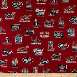 Kaufman Old Guys Rule Red Cars Multi Fabric