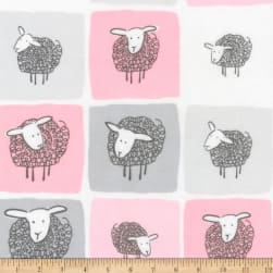 Kaufman Wooley Sheep Squares Pink Fabric
