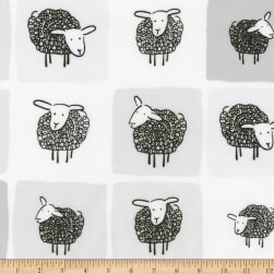 Kaufman Wooley Sheep Squares Grey Fabric