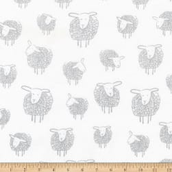 Kaufman Wooley Sheep Silver Fabric