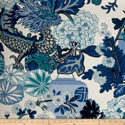 Schumacher Chiang Mai Dragon Indoor/Outdoor China Blue Fabric