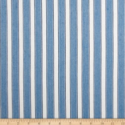 Schumacher Antique Ticking Stripe Linen Bleu Twill Fabric