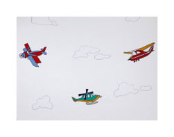 100% Cotton Airplanes Embroidery Fabric