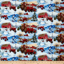 Farmall Snowman Scenic Allover Multi Fabric