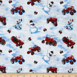 Farmall Tossed Snowmen and Tractors Allover Multi