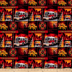 Fire Fighter Block Pint Allover Black Fabric