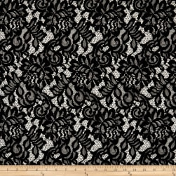 Corded Lace with Scallop Black Fabric