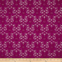 Floral Curly Corded Lace Magenta Fabric