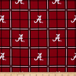 NCAA Alabama Crimson Tide Flannel Plaid Red Fabric
