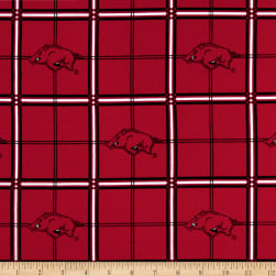 NCAA University Of Arkansas Razorbacks Flannel Plaid Fabric