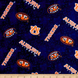 NCAA Auburn University Tigers Flannel Distressed Logos Allover