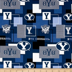 NCAA Brigham Young University Blocks Allover Fabric