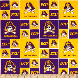 NCAA East Carolina University Box Logos Allover Fabric