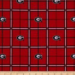 NCAA Georgia Bulldogs Flannel Plaid Red Fabric