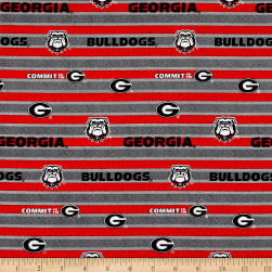 NCAA Georgia Polo Stripe Allover Red/Grey Fabric