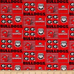 NCAA Georgia Patch Logos Allover Red/Grey Fabric