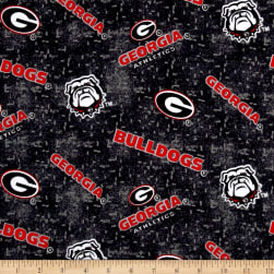 NCAA Georgia Distressed Logo Flannel Red/Black Fabric
