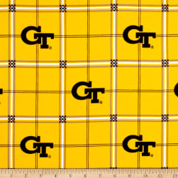 NCAA Georgia Tech Flannel Plaid Yellow Fabric