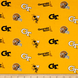 NCAA Georgia Tech Tossed Logos Yellow/Black Fabric