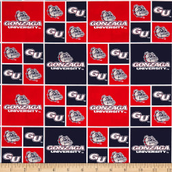 NCAA Gonzaga Box Logos Allover Red Fabric