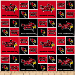 NCAA Illinois State Box Logos Allover Red/Black Fabric
