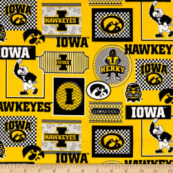 NCAA Iowa Packed Patches Allover Yellow/Black Fabric