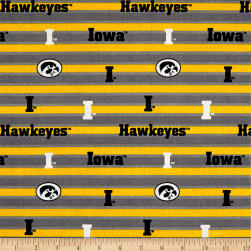 NCAA Iowa Polo Stripe Allover Yellow/White Fabric