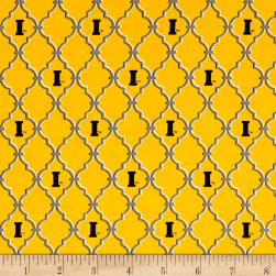NCAA Iowa Trellis Logo Allover Yellow Fabric