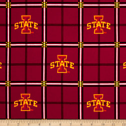 NCAA Iowa State Cyclones Flannel Plaid Red Fabric