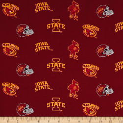 NCAA Iowa State Tossed Logos Red Fabric