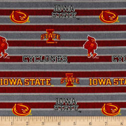NCAA Iowa State Polo Stripe Allover Red Fabric