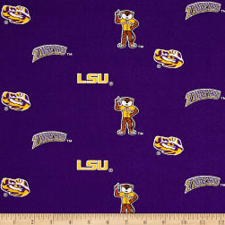 NCAA Louisiana State University Herringbone Allover Purple Fabric