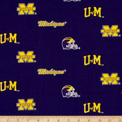 NCAA University of Michigan Herringbone Allover Blue Fabric