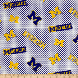 NCAA University of Michigan Checked Logo Allover Blue/White