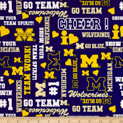 NCAA University of Michigan Logo Allover Metallic Glitter