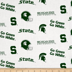 NCAA Michigan State University Tossed Logos White Fabric
