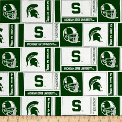 NCAA Michigan State University Herringbone Box White/Green Fabric