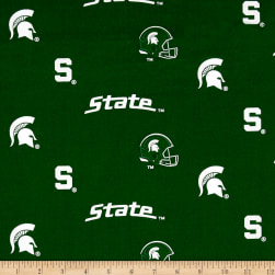 NCAA Michigan State University Herringbone Allover Green Fabric