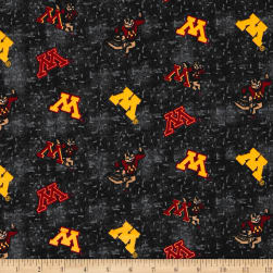 NCAA University of Minnesota Flannel Distressed Logo Yellow/Grey