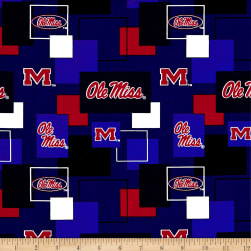 NCAA University of Mississippi Blocks Allover Red/Blue Fabric