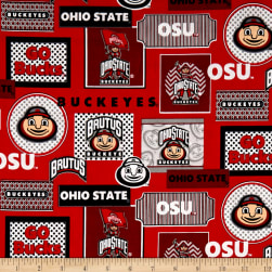 NCAA Ohio State Packed Patches Allover Red/White Fabric