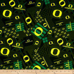NCAA University of Oregon Patch Allover Green Fabric