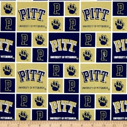 NCAA Pittsburgh Panthers Box Logos Allover Blue Fabric