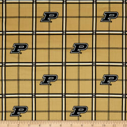 NCAA Purdue University Boilermakers Flannel Plaid Black Fabric