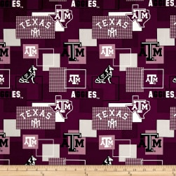 NCAA Texas A&M University Blocks Allover Maroon Fabric