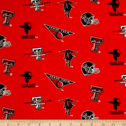 NCAA Texas Tech University Tossed Logos Red Fabric
