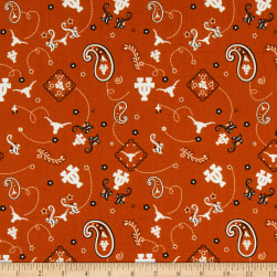 NCAA University of Texas Bandana Prints Orange Fabric